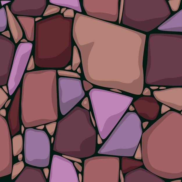 Naadloze steen textuur cartoon naadloze textuur. gekleurde stenen achtergrond. Premium Vector