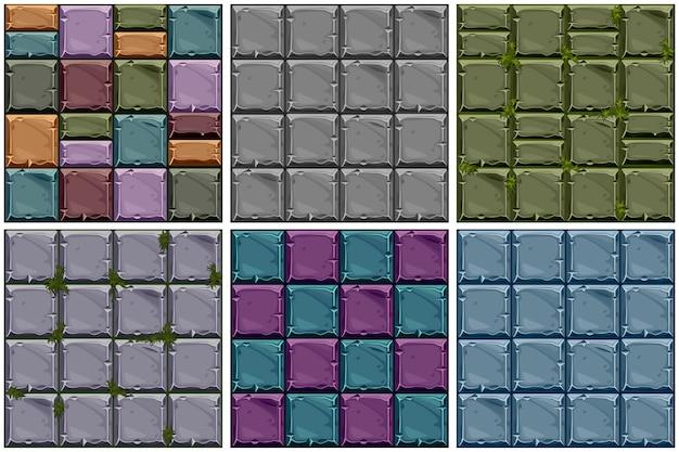 Naadloze textuur van gekleurde steen, achtergrond stenen muurtegels instellen. Premium Vector