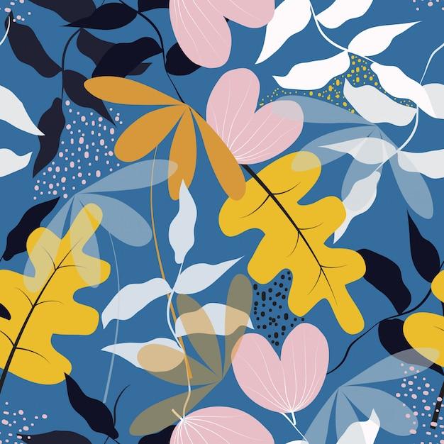 Naadloze trendy floral oppervlaktepatroon achtergrond Premium Vector