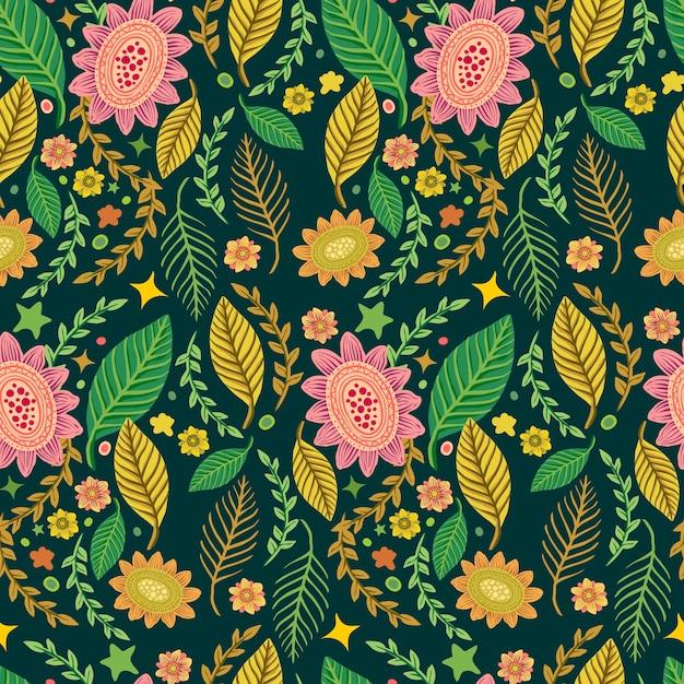 Naadloze tropische mooie bloem patroon achtergrond Premium Vector