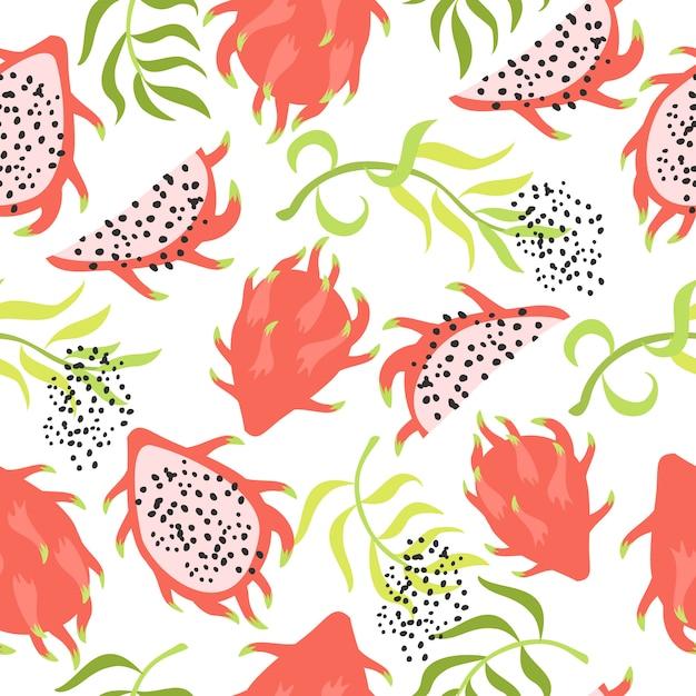 Naadloze tropische patroon met dragon fruit Gratis Vector