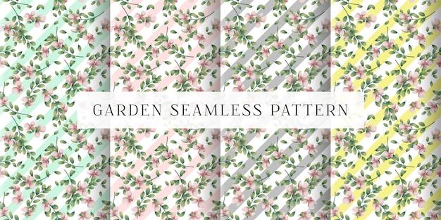 Naadloze tuin en pastelkleuren parints Premium Vector