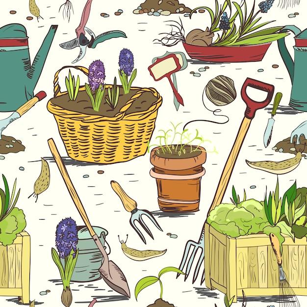 Naadloze tuinieren hulpmiddelen patroon achtergrond Gratis Vector
