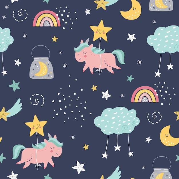 Naadloze vector kinderachtig patroon met schattige eenhoorns, wolken, maan, regenboog, sterren. Premium Vector