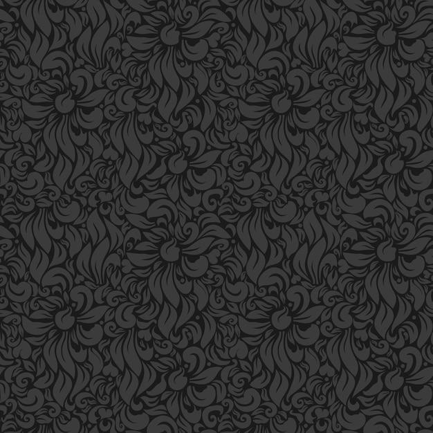 Naadloze vector luxe bloemenachtergrond. grijs op donker Gratis Vector