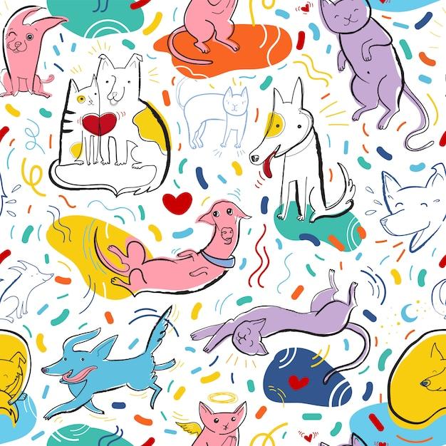 Naadloze vector patroon met schattige kleur katten en honden in verschillende poses en emoties Premium Vector