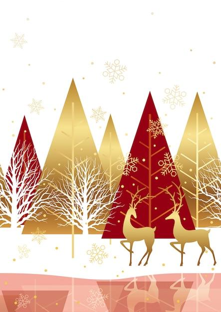 Naadloze winter bos achtergrond met rendieren. horizontaal herhaalbaar. Premium Vector