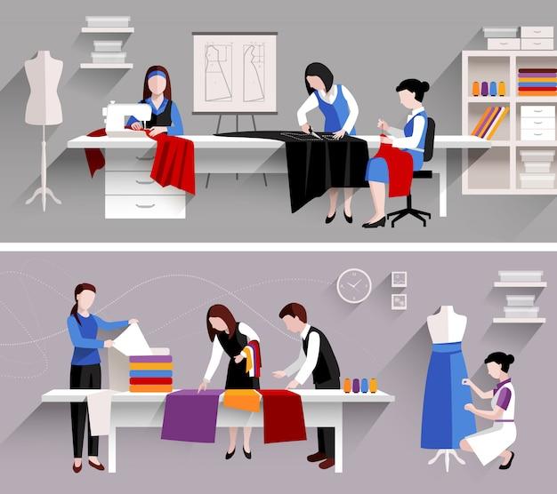 Naaien studio kleermaker winkel ontwerpsjabloon ingesteld Gratis Vector