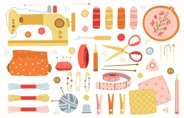 Naaiende elementen. handwerk handgemaakte hobbygereedschappen, naaien, handwerken, accessoires breien, machine, naalden en schaar illustratie set. handgemaakte uitrusting, handwerken en naaien Premium Vector