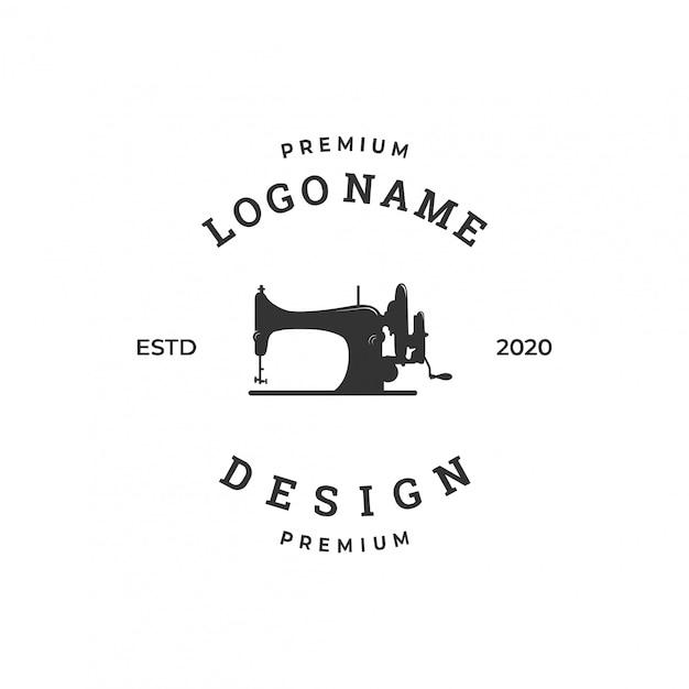 Naaimachine logo concept, textielindustrie ontwerpsjabloon Premium Vector