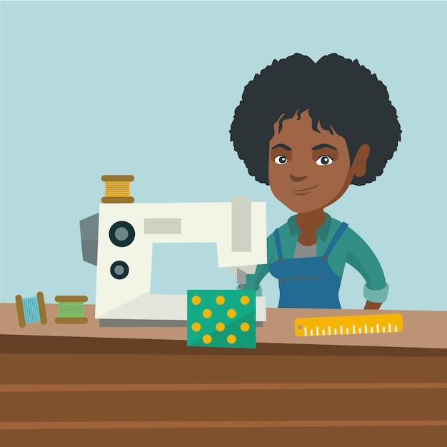Naaister die naaimachine met behulp van op workshop. Premium Vector