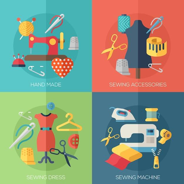 Naaisterjurk, naaimachine, accessoires, handgemaakte elementen Premium Vector