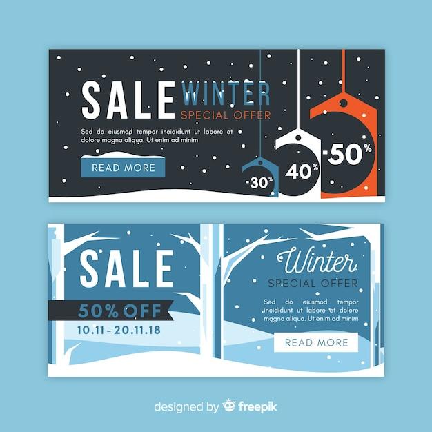 Naakte bomen winter verkoop banner Gratis Vector