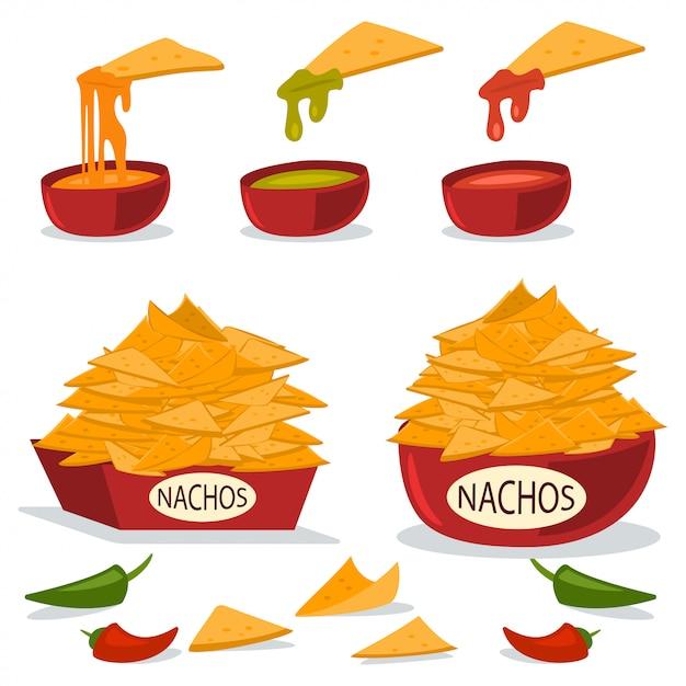 Nacho's in een bord met kaas, chili en guacamole sauzen. cartoon platte illustratie van mexicaans eten geïsoleerd op een witte achtergrond. Premium Vector