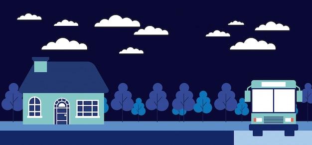 Nacht bomen huis stop bus Gratis Vector