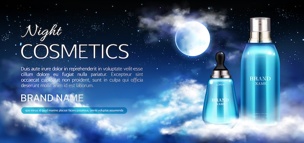 Nacht cosmetica flessen banner Gratis Vector