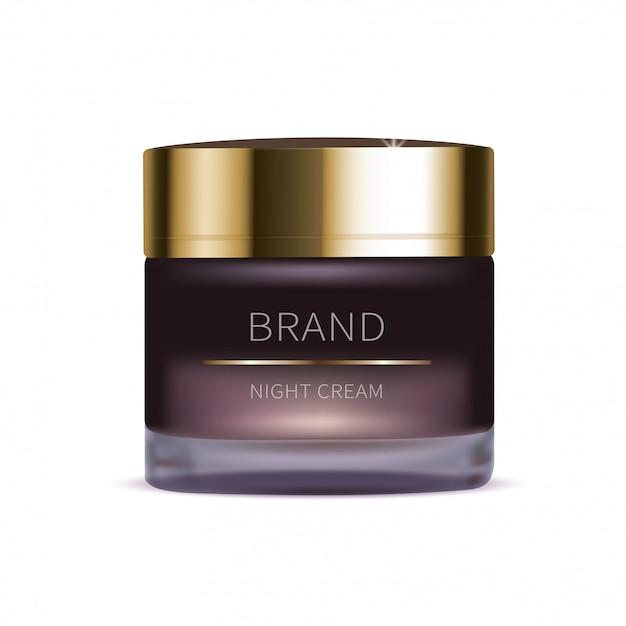 Nacht cosmetische crème voor gezichtshuid Gratis Vector