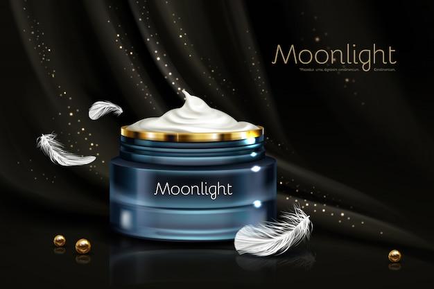 Nacht hydraterende crème in gemerkte blauwe glazen pot Gratis Vector