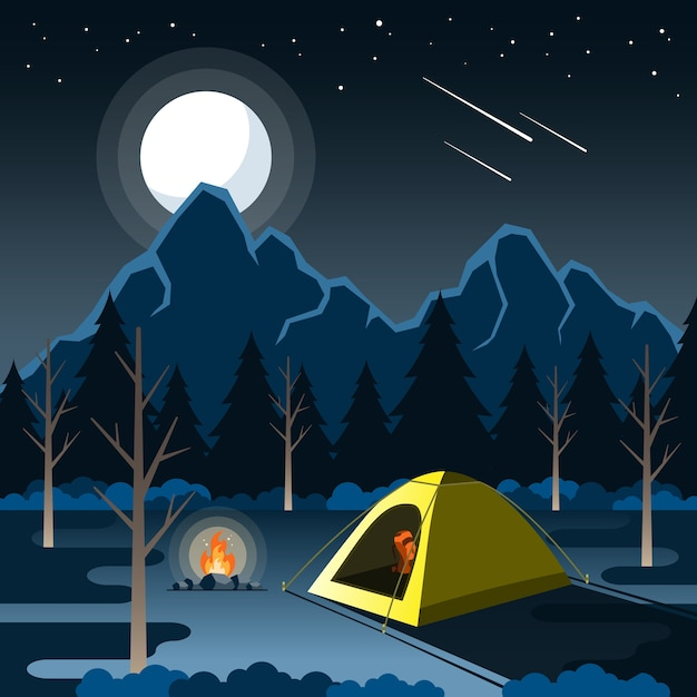 Nacht kampvuur Premium Vector
