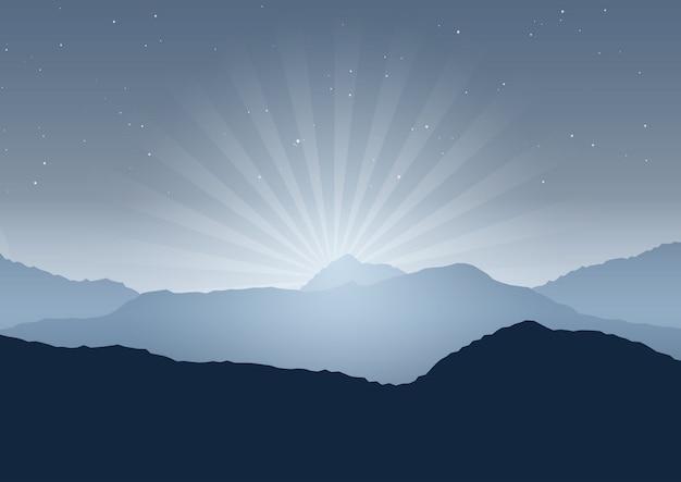 Nacht landschap achtergrond Gratis Vector