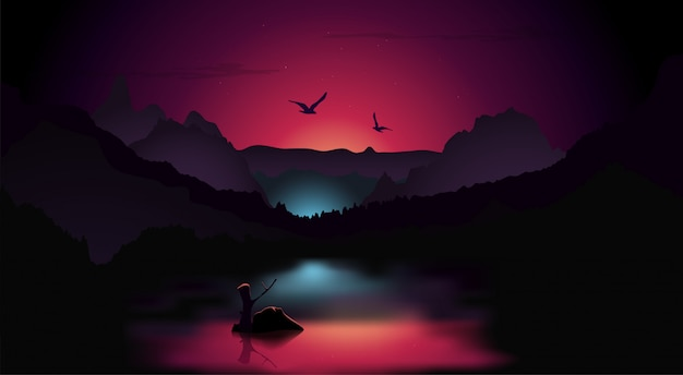 Nacht landschap achtergrond Premium Vector