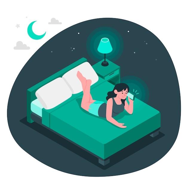 Nacht roept concept illustratie Gratis Vector