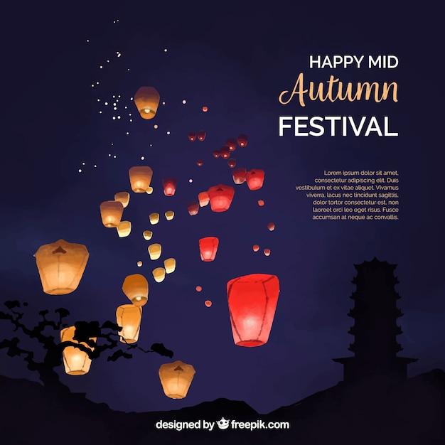 Nacht scène, midden herfst festival Gratis Vector