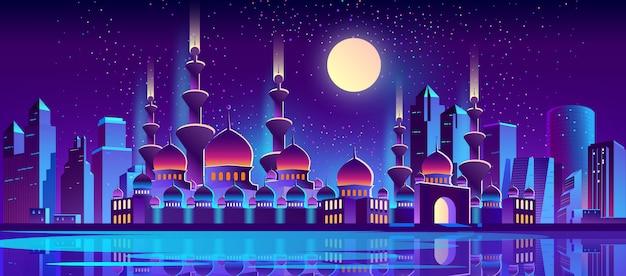 Nacht stad achtergrond met islamitische moskee Gratis Vector