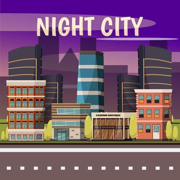 Nacht stad achtergrond Gratis Vector