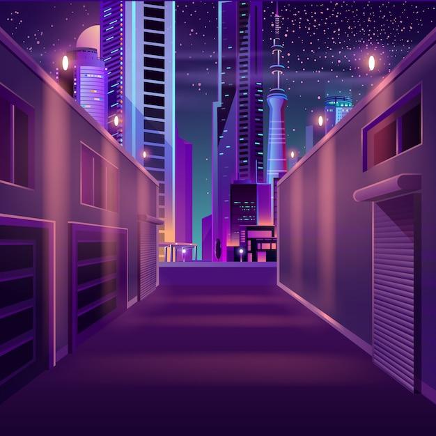 Nacht stad lege zijstraat cartoon Gratis Vector