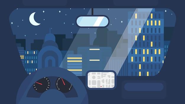 Nacht stad leven concept. stadsstraat van binnenuit auto-interieur met wiel, snelheidsmeter, gps-navigator. stedelijke landschapsbanner met gebouwen, bomen, winkel, winkels, lucht en zon. Premium Vector