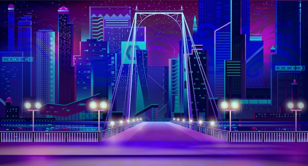 Nacht stad neonlichten, brug entry, kade, lampen Gratis Vector