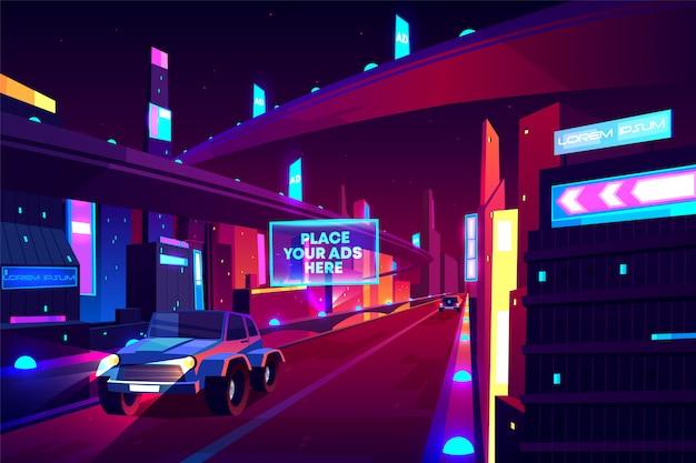 Nacht stad weg met bewegende auto's banner, snelheid twee-baans snelweg, viaduct of brug in de metropool. Gratis Vector