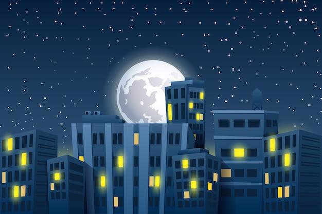 Nacht stadsgezicht met de maan. moderne wolkenkrabbers Premium Vector