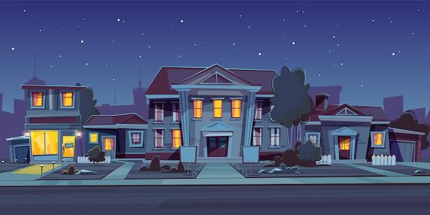 Nachtachtergrond met huur van huis Gratis Vector