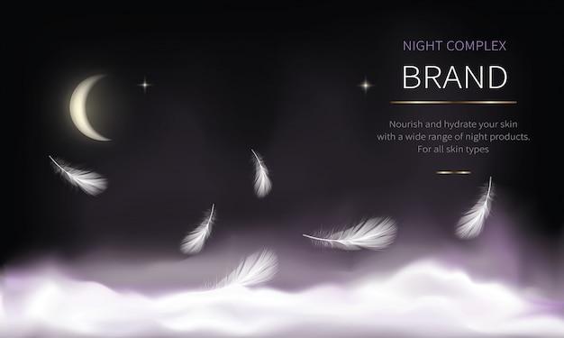 Nachtachtergrond voor cosmetische producten Gratis Vector