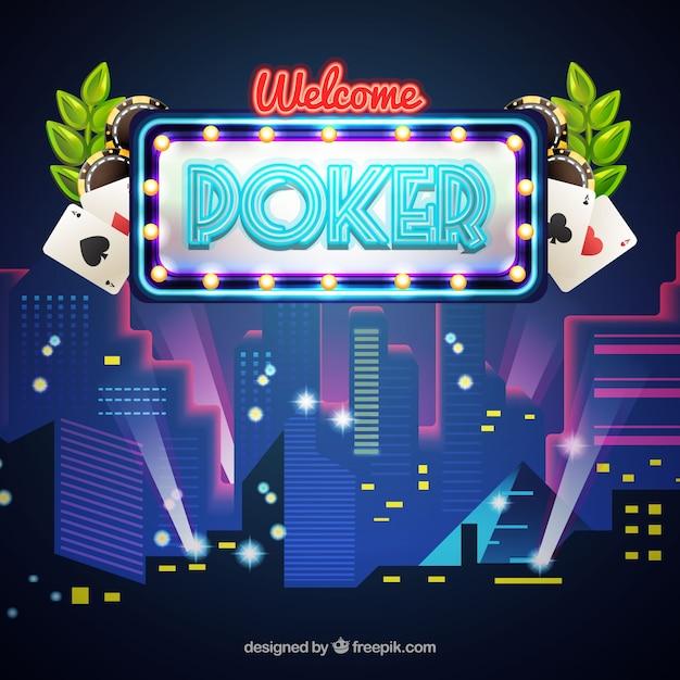 Nachtclub achtergrond met poker Gratis Vector