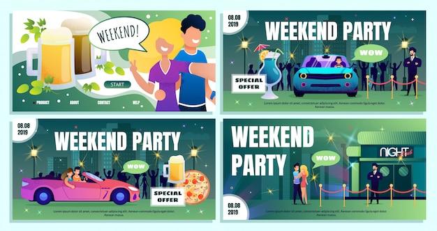 Nachtclub weekend speciale aanbieding advertentie banners set Premium Vector