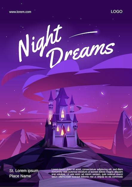 Nachtdromen poster met magisch kasteel met gloedvensters op de bergtop 's nachts Gratis Vector