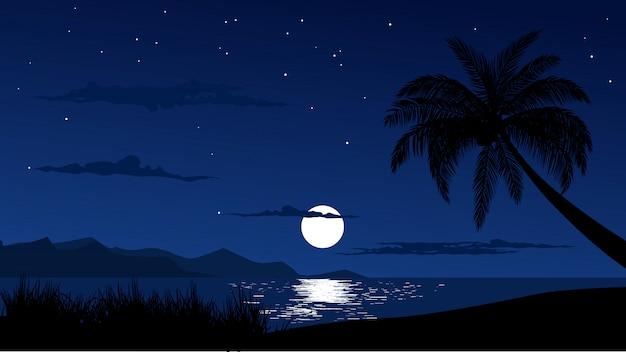 Nachtelijke hemel op tropisch strand Premium Vector