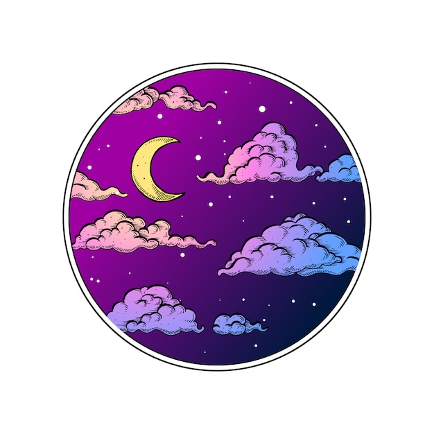 Nachthemel in cirkel Premium Vector