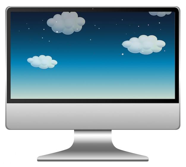 Nachthemelscène op computerachtergrond Gratis Vector