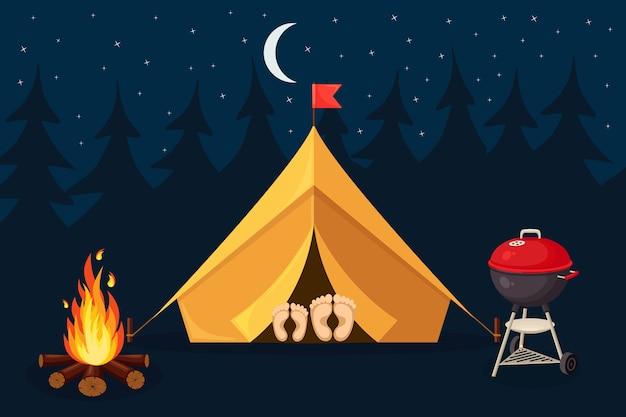 Nachtlandschap met tent, kampvuur, bos. zomerkamp, natuurtoerisme. kamperen of wandelen concept Premium Vector
