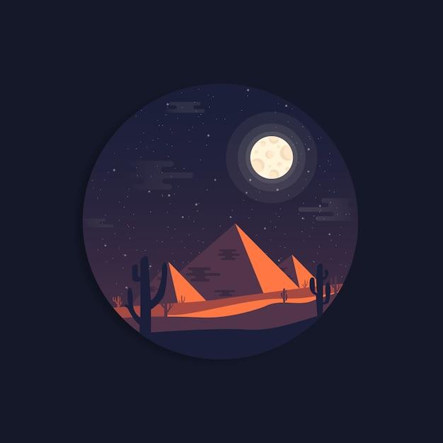 Nachtlandschap van egyptische piramides Premium Vector