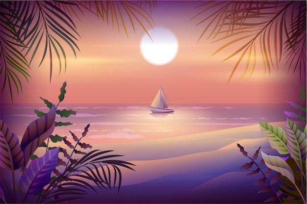 Nachtlandschap van tropisch eiland. palmbomen, strand, zee en zeilboot Premium Vector