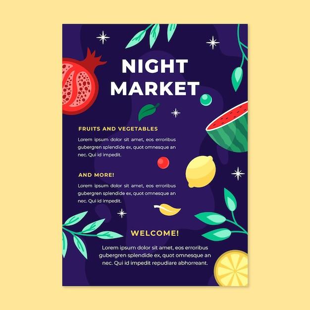 Nachtmarkt poster sjabloon Gratis Vector