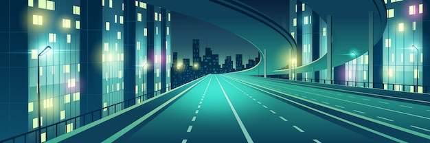 Nachtmetropool leeg, vierbaans, verlicht met straatverlichting snelheid snelweg, stad snelweg met viaduct of brug in boven naar wolkenkrabbers gebouwen op horizon cartoon vectorillustratie Gratis Vector