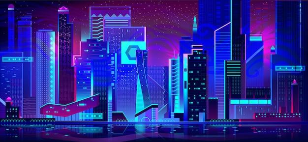 Nachtstad in neonlichten. futuristische architectuur Gratis Vector