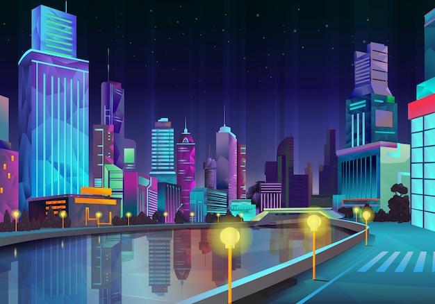 Nachtstad, vectorillustratie in lage polystijl Premium Vector