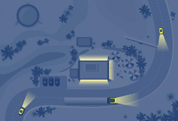 Nachtverlichting auto's op wegverkeer concept top hoekmening Premium Vector